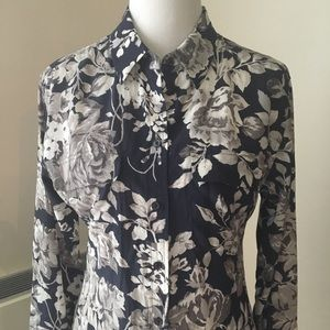 Equipment Silk Ivory Roses on Navy Printed Blouse